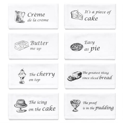 Food Saying Napkins Set of 8 White