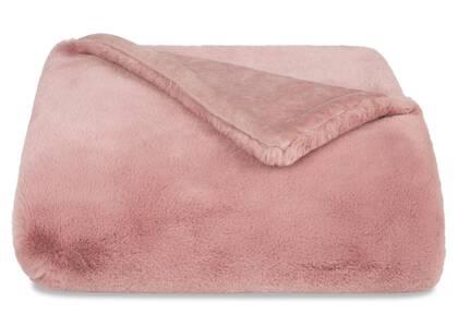 Flora Faux Fur Throw Ballet Pink