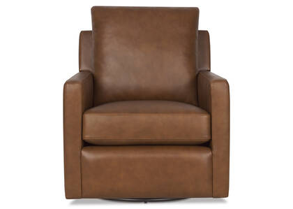 Sadie Leather Swivel Armchair -Arlo Rum