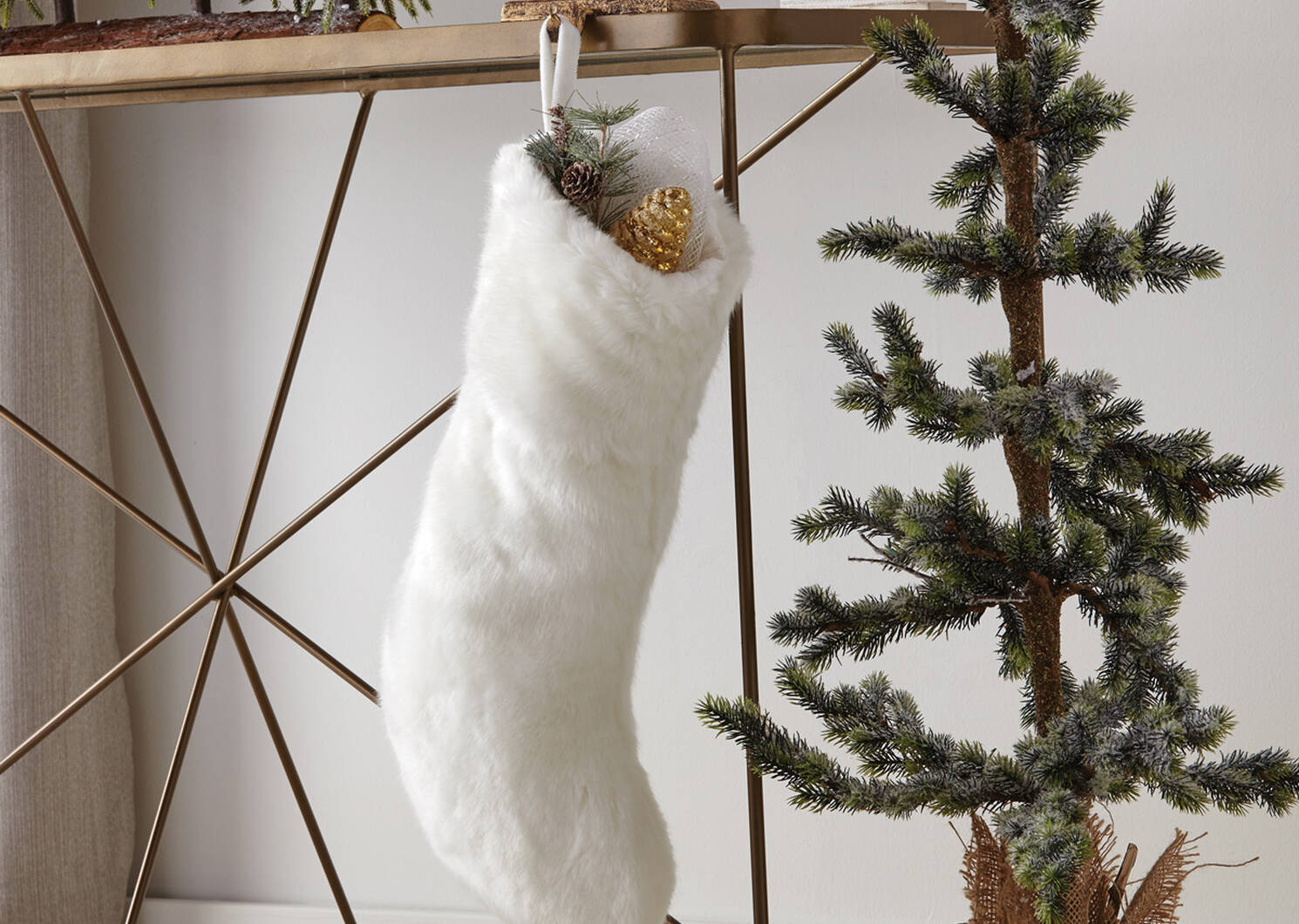 Bas de Noël en f.fourrure Flora blanc