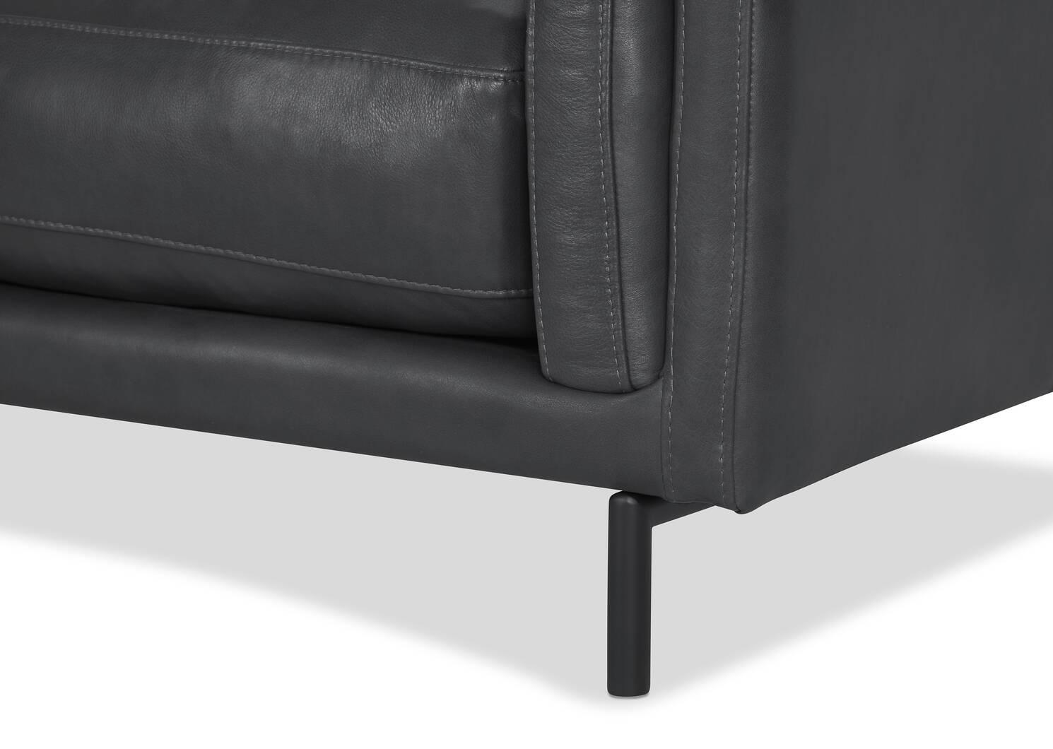 """Renfrew Leather Sofa 94"""" -Adler Grey"""