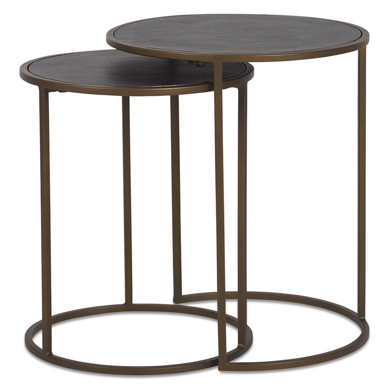 Hemsley Nesting Side Table Set -Brass