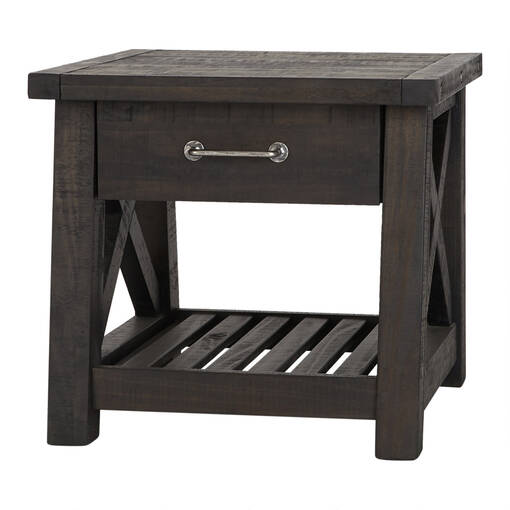 Ironside 1 Drawer Side Table -Cafe