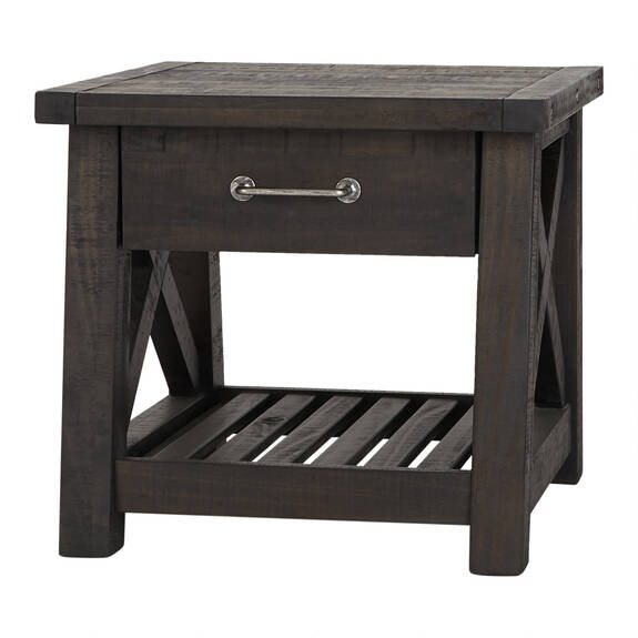 Ironside 1 Drawer Side Table -Cafe