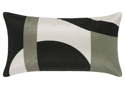 Coussin Palais 12x22 noir/ivoire/sauge