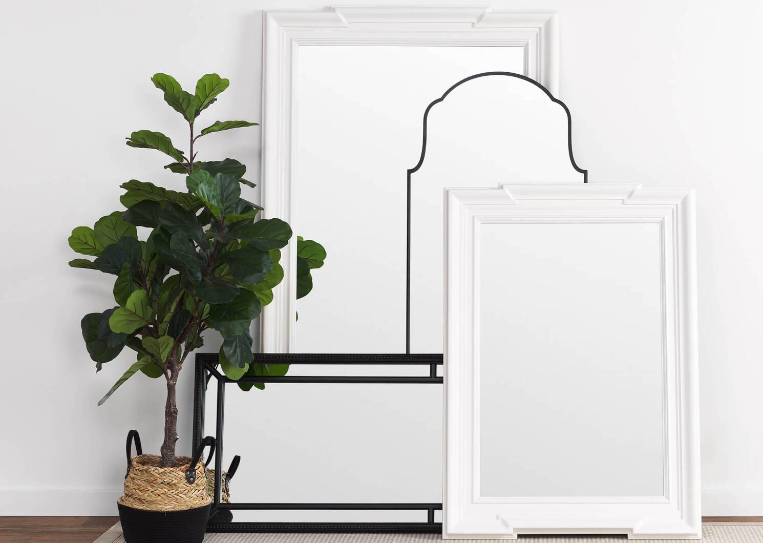 Miroir posé contre le mur Lillis noir