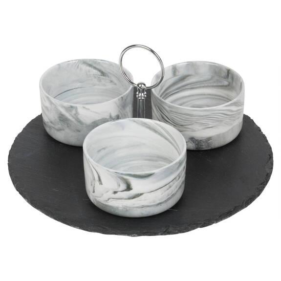 Carrara Bowls & Slate Tray Set Round