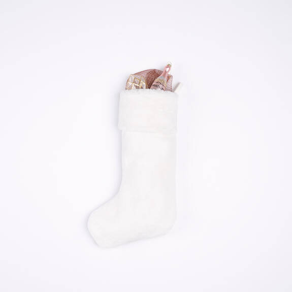 Flora Faux Fur Stocking White