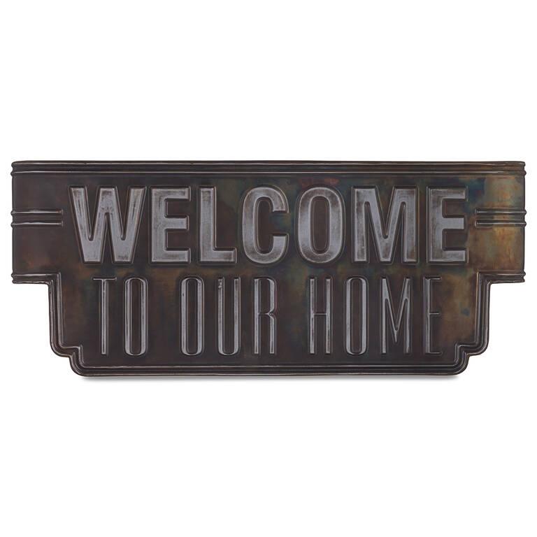 Welcome Wall Plaque Dark Bronze