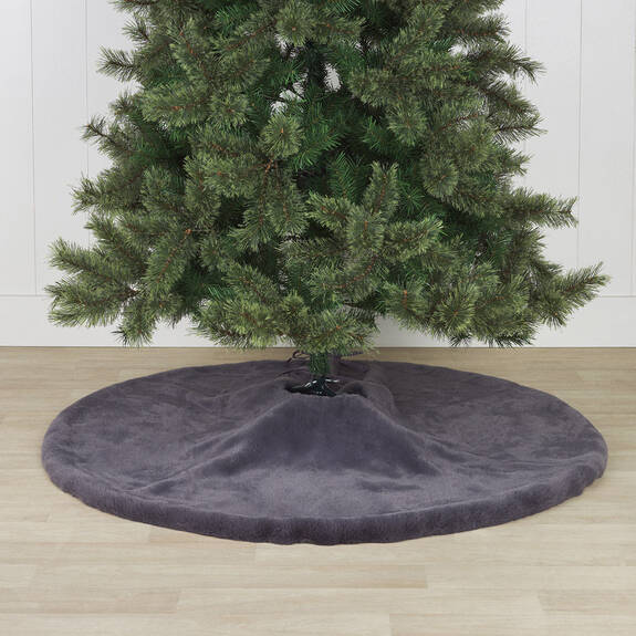 Flora Faux Fur Tree Skirt Grey
