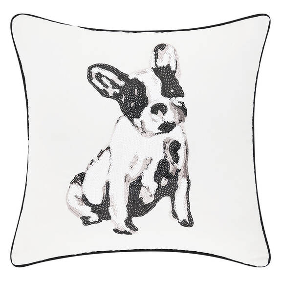 Frenchie Sequin Toss 20x20 White/Black