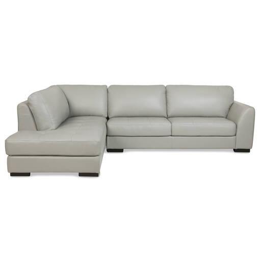 Boone Leather Sofa Chaise Dove Lcf
