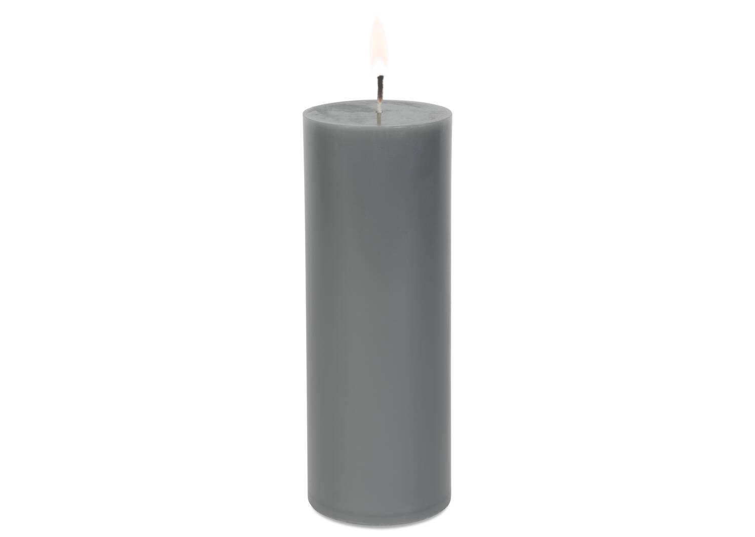 Bougie non-parfumée Cassa 3x8 grise