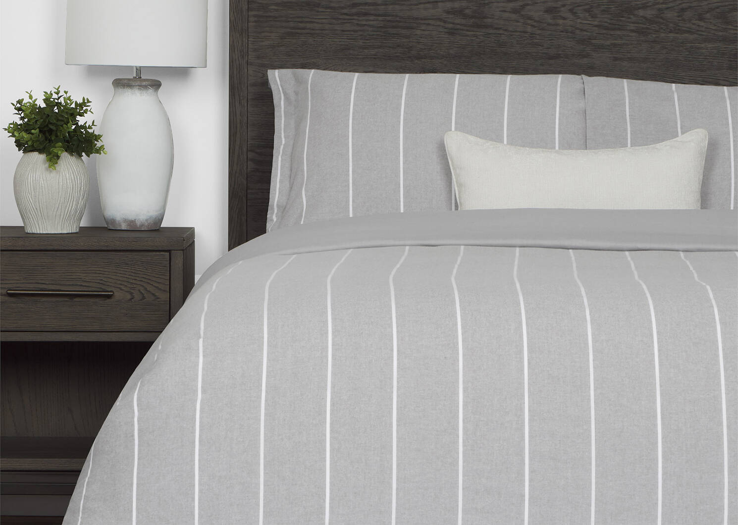Palmas Striped Duvet Set Grey/White