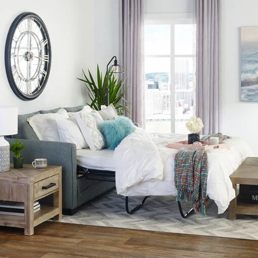 Azure Sofa w/ Queen Bed -Aiden Platinum