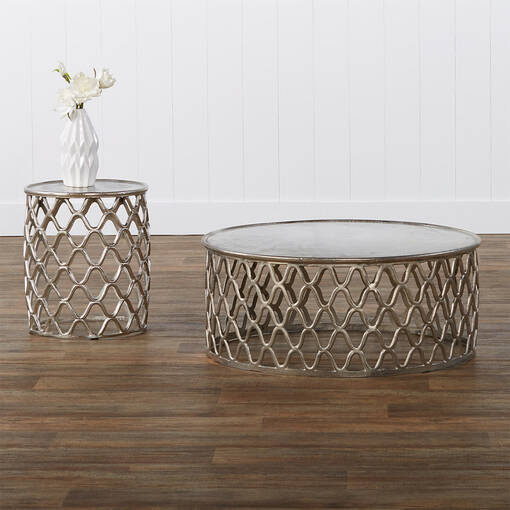 Ashbury Side Table -Raw Nickel