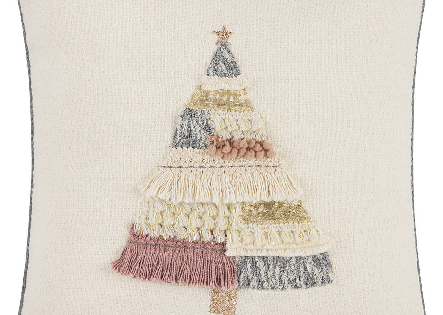 Tinsel Tree Toss 20x20 Pink/Grey