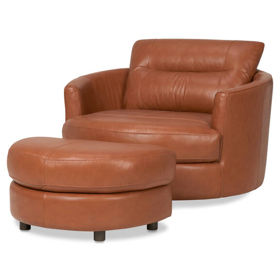 Andros Leather Chair w/ Ottoman -Tan
