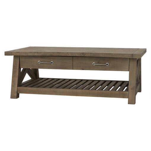Table basse plat.rel.Ironside -gris rus.