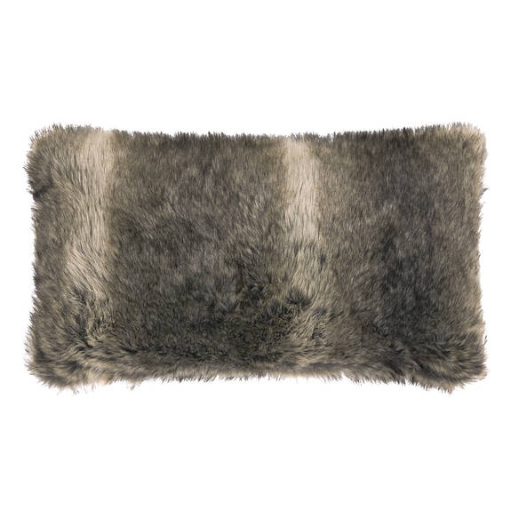 Fauna Faux Fur Toss 12x22 Grey Wolf