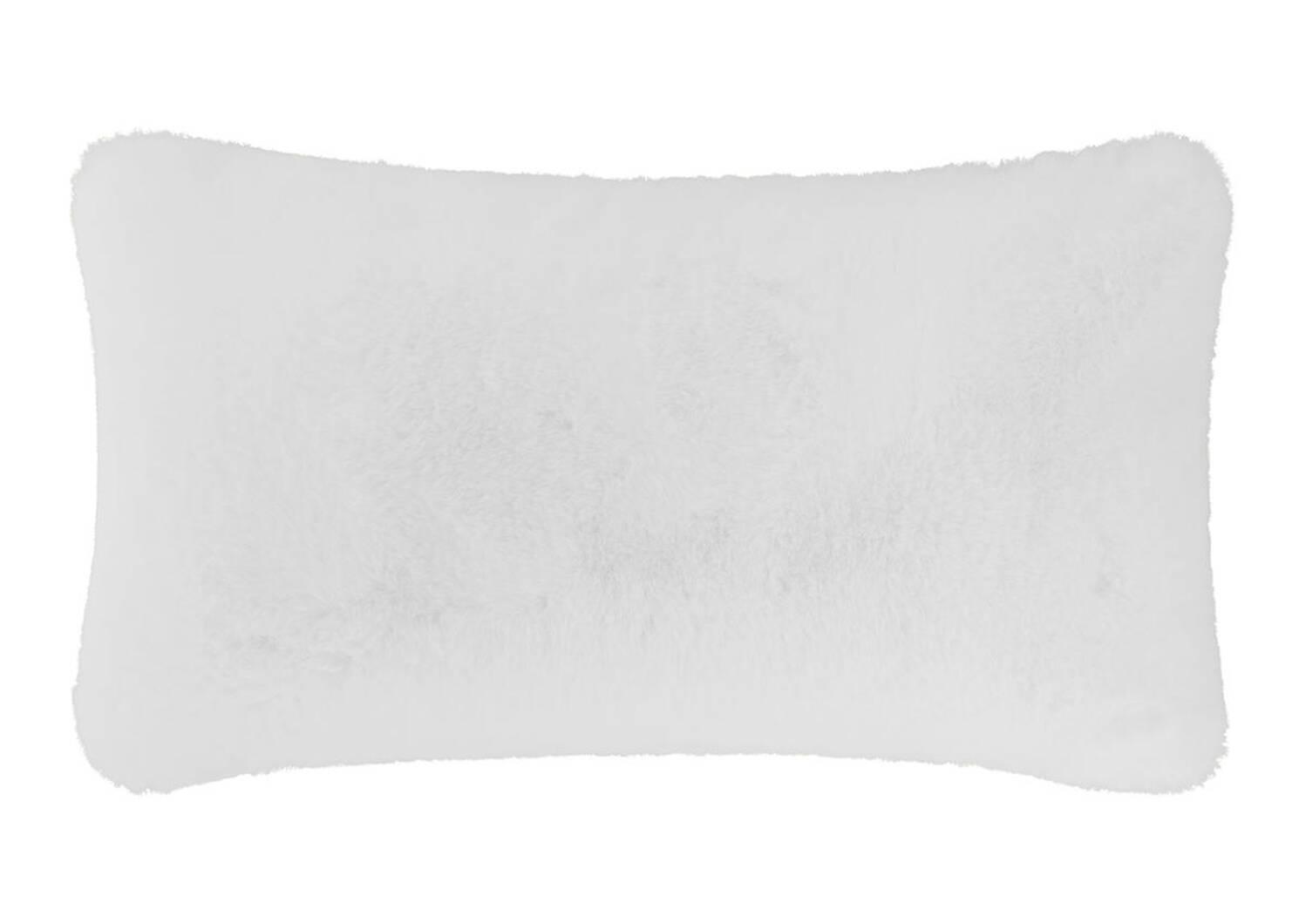 Coussin f.fourrure Flora 12x22 blanc