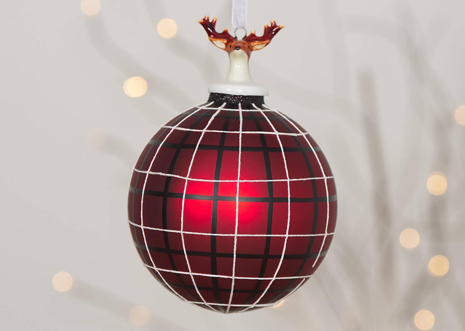 Rudolph Plaid Ball Orn Red