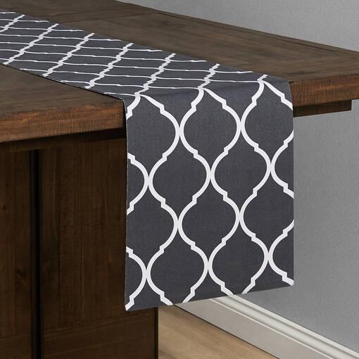 Chemin de table treillis/damas gris