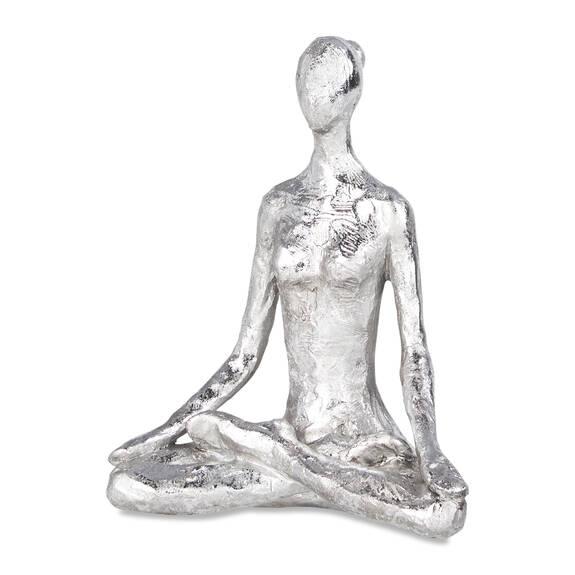 Statuette post. Yoga du lotus argentée
