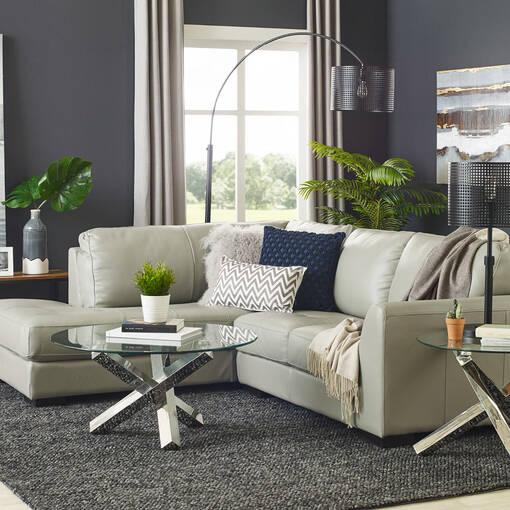 Boone Leather Condo Sofa Chaise -Do, LCF