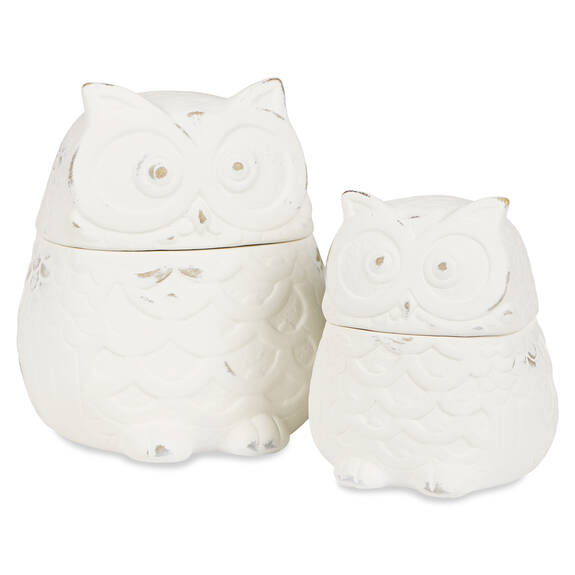 Topher Owl Canisters -Antique White