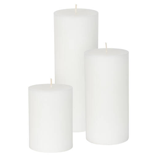 Bougie non-parfumée Cassa 3x4 blanche