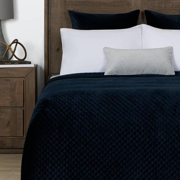 Cosmo Velvet Bedspread Midnight