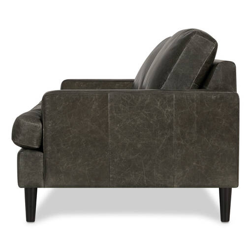 Savoy Leather Loveseat –Jasper Graphite