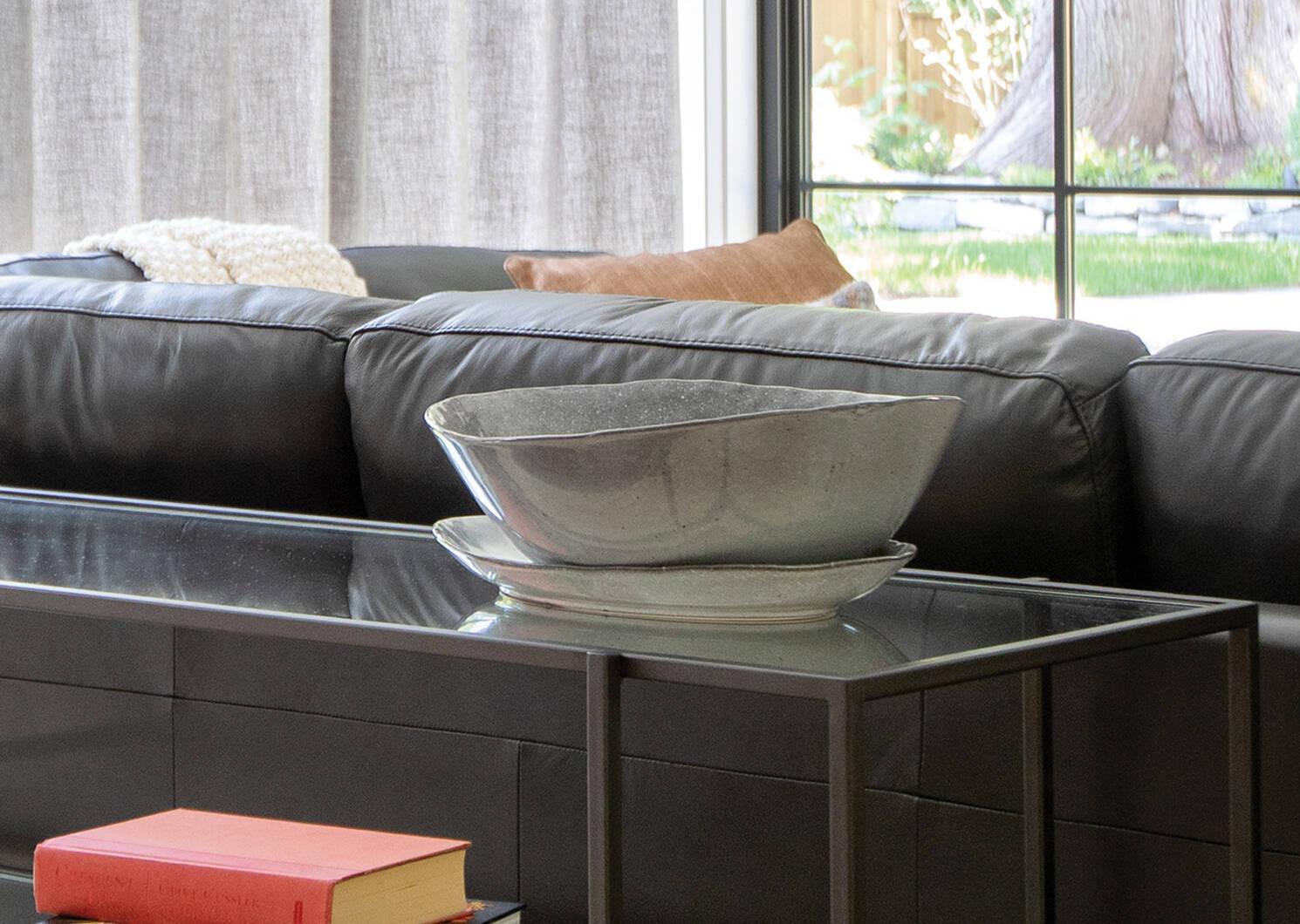 Crofton Glazed Serving Platter Dark Grey