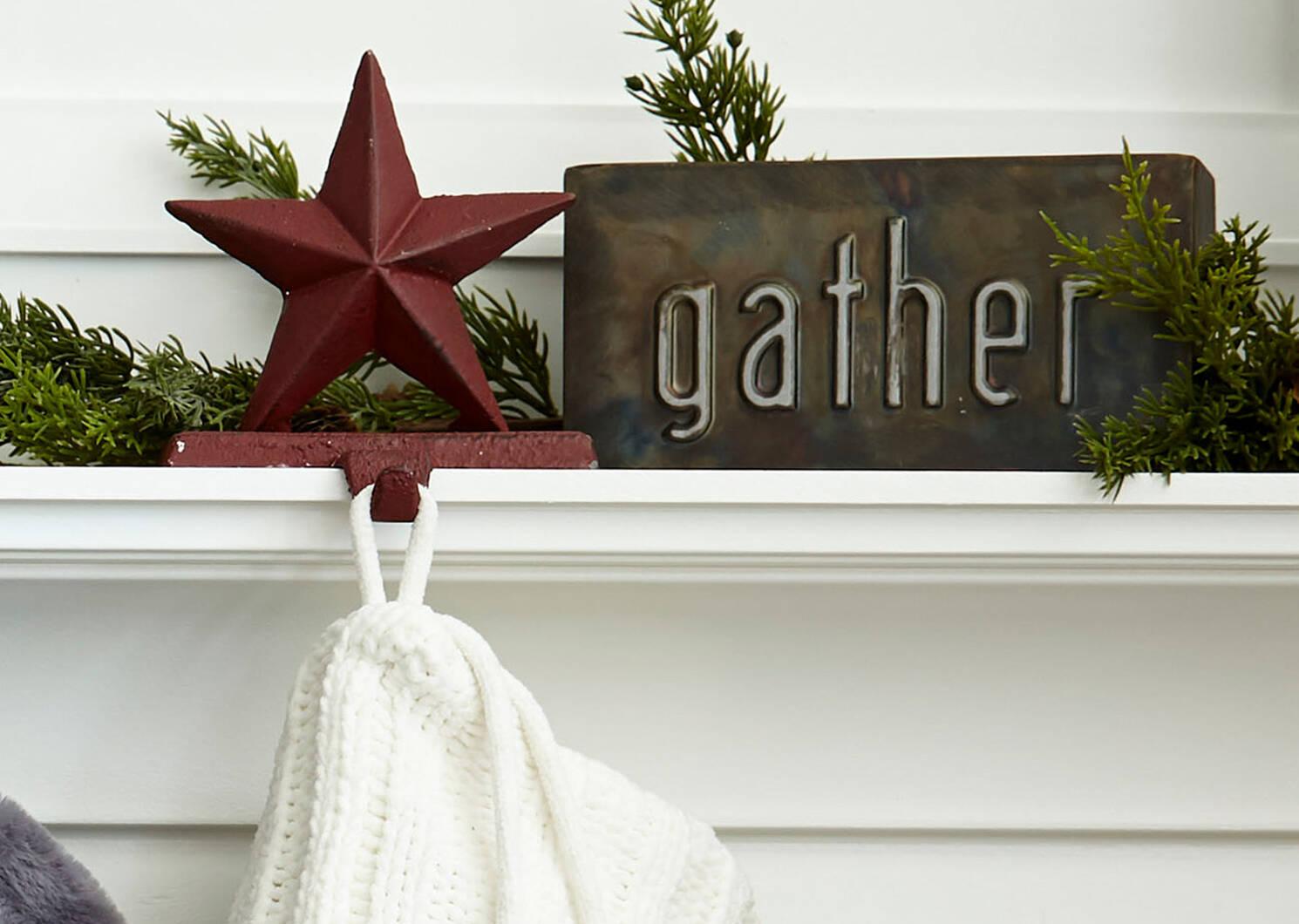 Support à bas Noël étoile Twinkle rouge