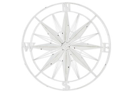 Span Compass Outdoor Wall Decor White