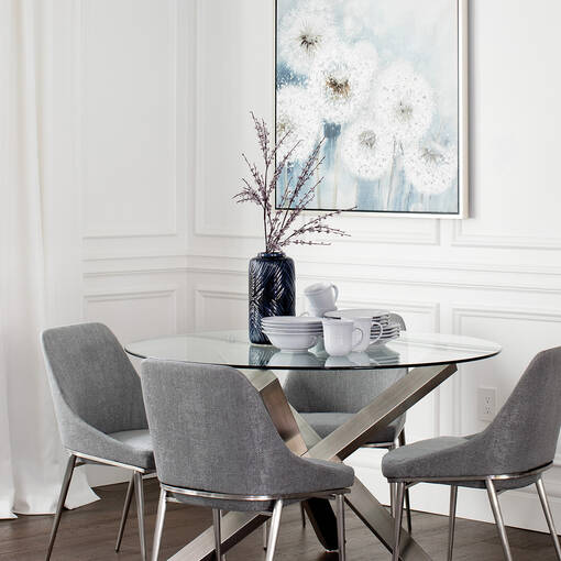 Maverick Dining Table- Brushed Steel