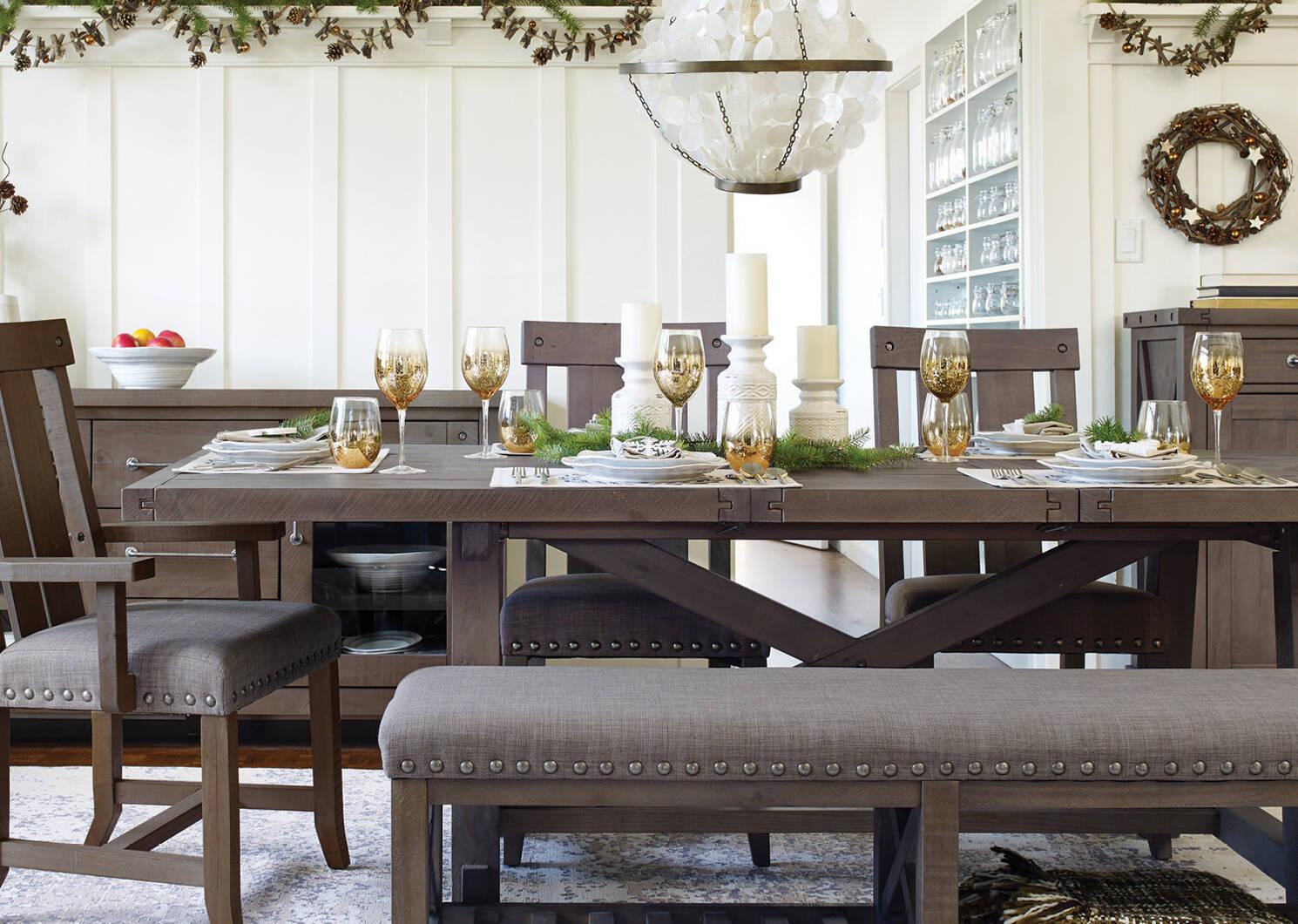 Table rect. rallonge Ironside -gris rust