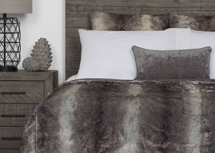 Haven Faux Fur Bedspread Grey Wolf
