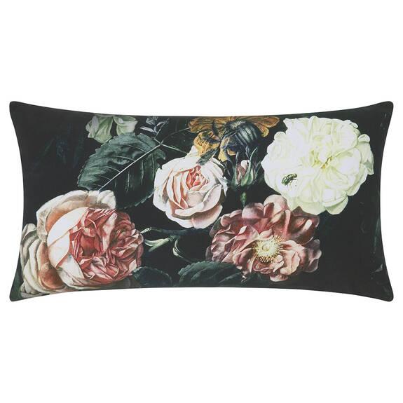 Coussin floral Symphony 12x22 noir