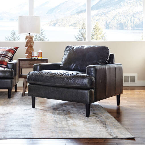 Savoy Leather Armchair -Jasper Graphite