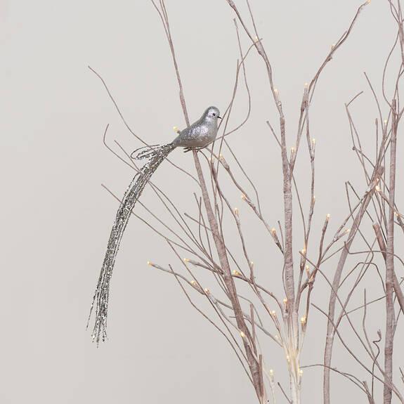 Ornement oiseau Long Tail argenté