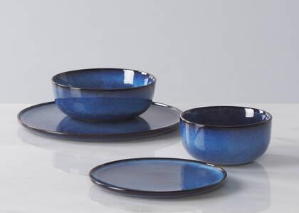 Serv. vaisselle 16 p Fontaine bleu foncé