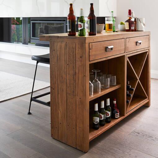 Bar comptoir Stapleton -Whisky brun