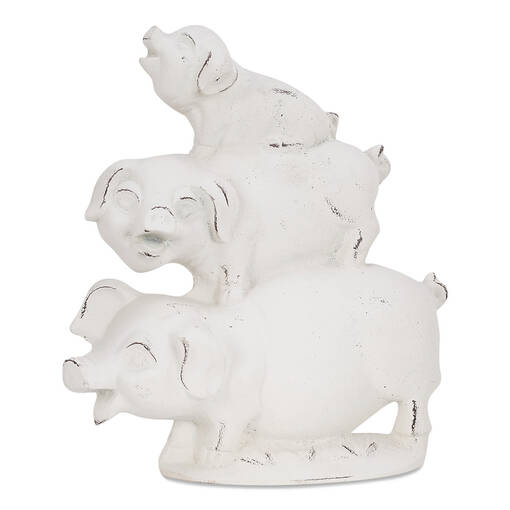 Stacked Pigs Decor White