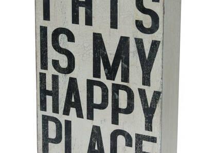 Bloc écriteau Happy Place blanc