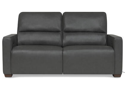 Reese Leather Reclining Sofa -Arlo Smoke