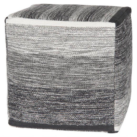 Nestor Striped Pouf Square White/Grey
