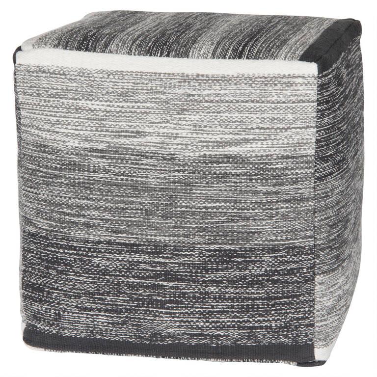 Nestor Striped Pouf Square White/Grey