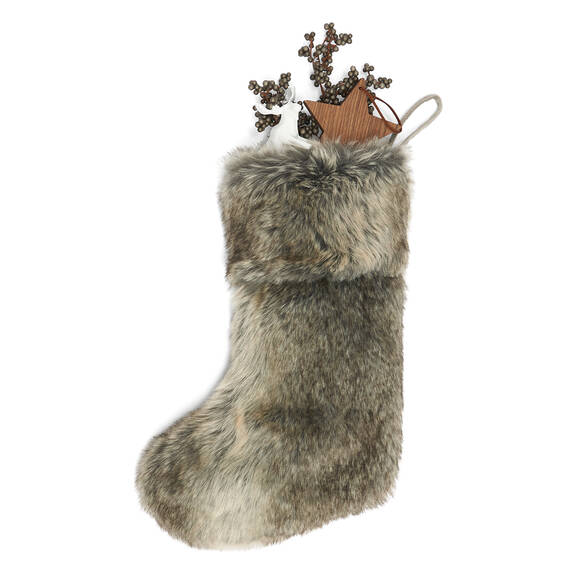 Fauna Faux Fur Stocking Grey Wolf